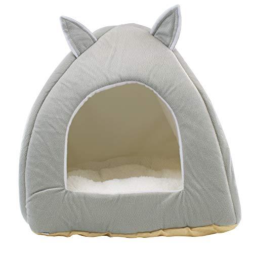 DIGFILEX Cama para Mascotas Estilo Oso Peluche Gris - Cama para Gatos Lavable Suave Vellón-Ideal Gatos Gatitos-Choza Cama para Gatos Suave y Cómoda - 40 x 40 x 35cm