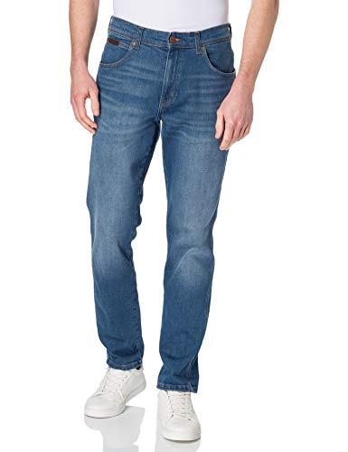 Wrangler Texas Slim Jeans, Vertigo Blue, 36W x 30L Uomo