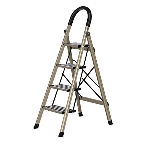 LRZLZY 3-Step / 4-Stufenleiter, tragbare Falten Aluminium Stehleitern, Heavy Duty Mehrzweckküchentrittschemel mit Non-Matte Beleg, 330lbs Kapazität (Size : 4-Step)