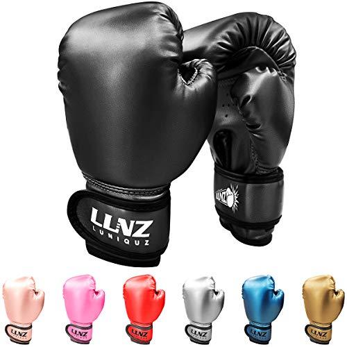 Luniquz Boxing Gloves for Kids Punching Bag Sparring Fit Boys Girls, 6 OZ Black