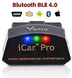 vgate iCar PRO OBD2 Bluetooth 4.0 Auto Diagnostica Lettore di Codici di guasto Motore automobilistico Elm 327 V 2.2 per Sistema Android/iOS, Compatibile con App Torque, OBD Car Doctor