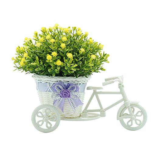 LPxdywlk A bouquet Artificial Flower Rattan Basket Tricycle Desktop Store Showcase Party Home Decor Yellow 26cm x 12cm x 21cm