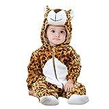 YOUJIAA Baby Mädchen Jungen Flanell-Strampler Tierpyjamas Langarm Warm Kapuzenoverall mit Reißverschluss (Braun Leopard, 100)