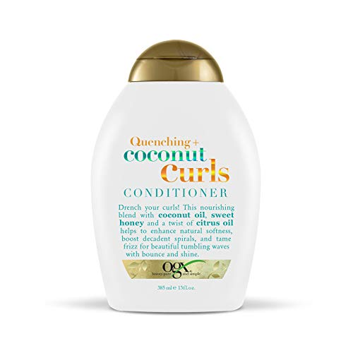 OGX Quenching + Coconut Curls Curl-Defining Conditioner, Nourishing Curly Hair Conditioner with Coconut Oil, Citrus Oil & Honey, Paraben-Free with Sulfate-Free Surfactants, 13oz