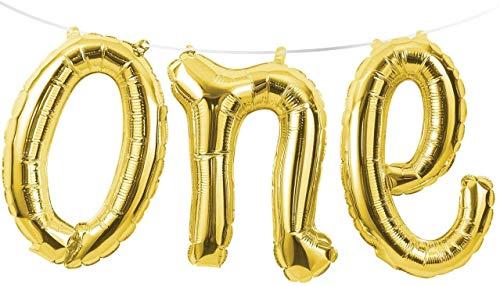 "Creative Converting Balloon Banner, 13"" x 5', Gold"
