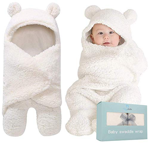 BlueMello Swaddle Blanket | Ultra-Soft Plush Essential for Infants 0-6 Months | Receiving Swaddling Wrap White | Ideal Newborn Registry and Toddler Boy Accessories | Perfect Baby Girl Shower Gift