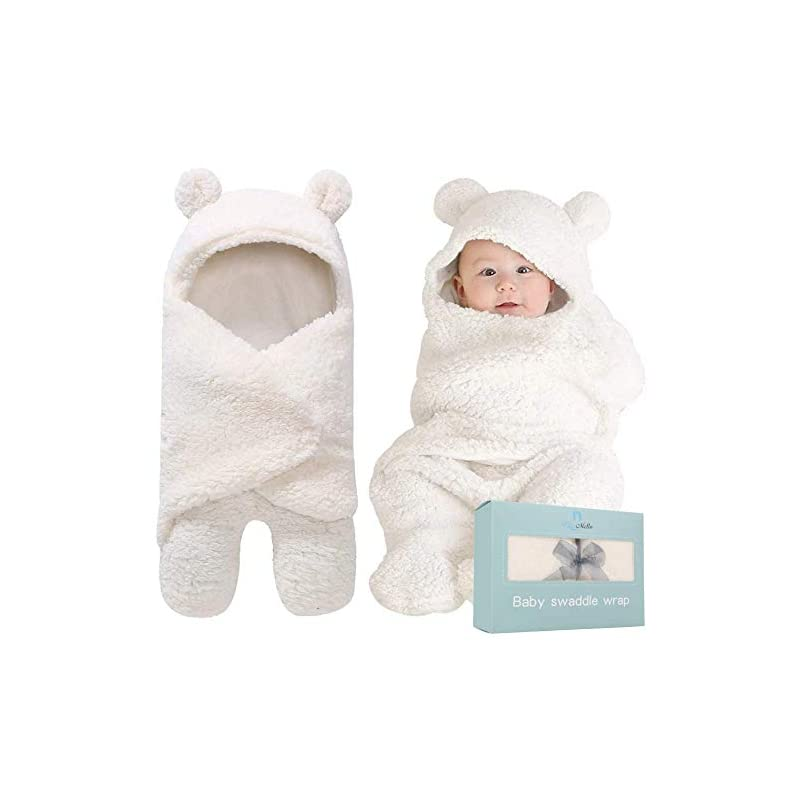 crib bedding and baby bedding bluemello swaddle blanket | ultra-soft plush essential for infants 0-6 months | receiving swaddling wrap white | ideal newborn registry and toddler boy accessories | perfect baby girl shower gift