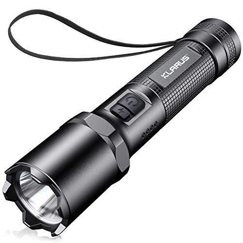 Klarus Linterna táctica recargable A1, 1100 lúmenes, luz LED de bolsillo, 4 modos más estroboscópico, impermeable IPX6, batería 18650 incluida
