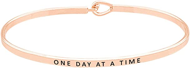 GLAM 'One Day at A Time'' Inspirational Quote Positive Message Thin Brass Bangle Hook Bracelet