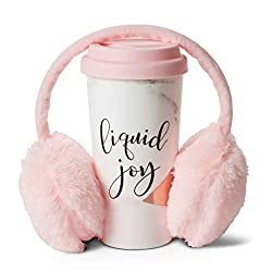 Thermal Travel Mug and Adjustable Pink Headband Ear Warmers- Valentine's Day Gift Ideas for Travelers- So cute (even a design for guys is available! press on the photo) and will keep your loved one warm during the winter!
