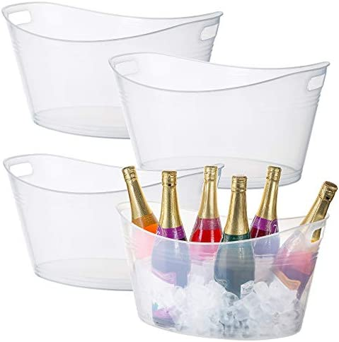 Zilpoo 4 Pack Large Plastic Ice Bucket Oval Storage Tub 18 Liter Parties Wine Beer Bottle Drink product image
