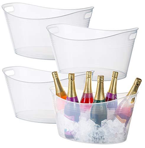 Zilpoo 4 Pack - Large Plastic Ice Bucket, Oval Storage Tub, 18 Liter Parties Wine, Beer Bottle Drink Cooler, Party Beverage Chiller Bin, Baskets, Clear