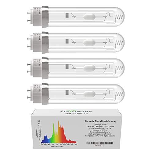iGrowtek 4 Pack CMH 315W 3100K Grow Light Bulb, CMH 315 Grow Bulb,High Par Full Spectrum,Ceramic Metal Halide Grow Lamp