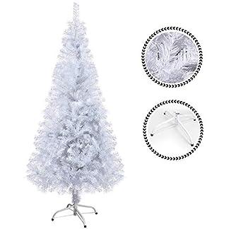 SunJas Árbol de Navidad Artificial Árbol Espeso y Lujo Verde/Blanco/Nevado con Copos de Nieve Blancos y Piñones de Pino Soporte Metálico Árboles 120cm-210cm (200-700Ramas) – 120cm, 200 Ramas, Verde