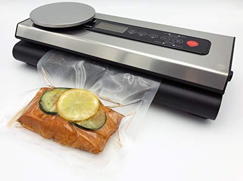 Vakuumierer für Lebensmittel VacuNo.1 - VACU Premium mit integrierter digitaler Küchenwaage – Vakuumiergerät – Sous Vide - inklusive Folienbeutel-Set und Schlauch