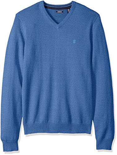 IZOD mens Premium Essentials Solid V-neck 12 Gauge Pullover Sweater, New Federal Blue, XX-Large US