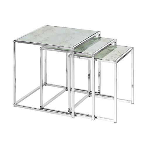 Invicta Interior Design Beistelltisch 3er Set Elements 40cm weiß Glasplatten in Marmoroptik Satztische Couchtisch Tischset