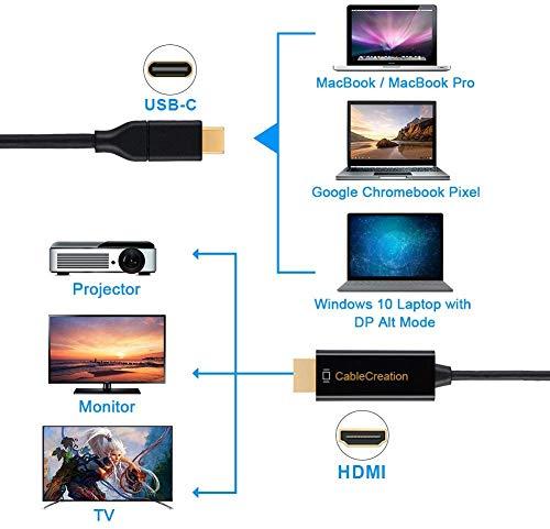 USB C zu HDMI, CableCreation Typ C zu HDMI 4K @ 60Hz,Thunderbolt 3 kompatibel, Stecker zu Stecker, für MacBook Pro/iMac 2017 / Chromebook Pixel/Yoga 920 / Samsung S8 / S8 +, Schwarz / 3M/10 Ft