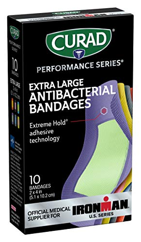 Curad Performance Series Ironman XL Antibacterial Bandages, Extreme Hold Adhesive Technology, Fabric Bandages, 10 Count