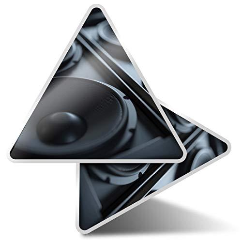 2 pegatinas triangulares de 10 cm – Altavoces musicales DJ Fun Calcomanías para ordenadores portátiles, tabletas, equipaje, reserva de chatarra, neveras #14351
