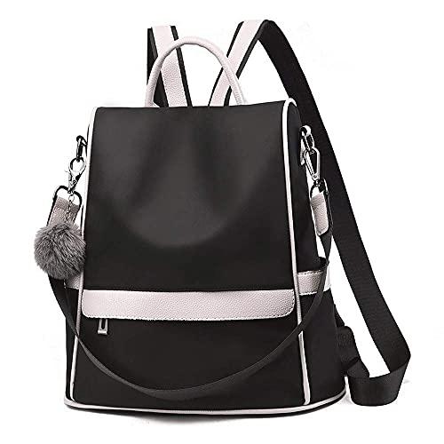 Mochila antirrobo impermeable para mujer con bola de pompón mochila de viaje casual bolsa de hombro para mujer resistente al agua