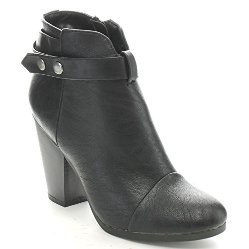 Breckelle's Gail-22 Women's Belted Chunky Stacked Heel Ankle Booties,Black,6