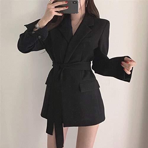WHBDFY Merk Elegant Wit Herfst Winter Blazer Vrouwen Wrap High Fashion Bow Tie Blazers Jas Slim Femme Blazer S Zwart