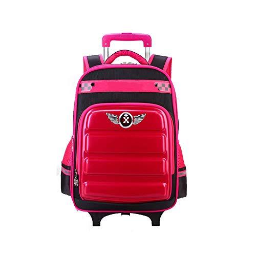 Robuster Universal-Radwagen Reisetasche Trolley Schultasche Grundschule Jungen Mädchen Schultasche Lastreduzierung 6-12 Jahre Alter Rucksack mit Rädern Wasserdicht 2 Räder Langlebige Formräder (Farb