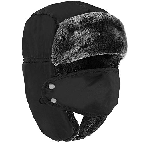Winter Trapper Hat - Russian Style Ushanka, Trooper, Face Mask Hats for Men and Women - Ear Flaps, Chin Strap, Windproof Ski Mask - Covers Full Face - Hunting, Snowboarding Accessories Black