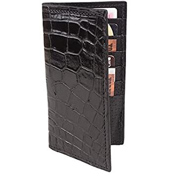 Genuine Alligator Rodeo Checkbook Leather Wallet  Black