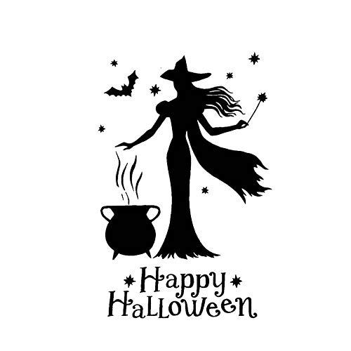 10,7 * 16,7 CM Happy Halloween Hexe Mädchen Mode Kühlen Stil Silhoutte DesignVinyl Auto Aufkleber selbstklebende Aufkleber Auto Motorräder Decoratio