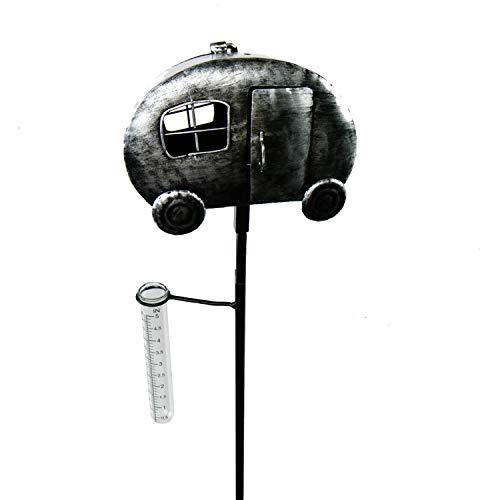 Roomando Gartenstecker Wohnwagen Metallstecker Edelstahl mit Regenmesser Teelichthalter (Wohnwagen)