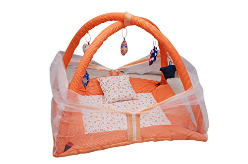 Tender Care Baby Kick and Play Gym with Mosquito Net and Baby Bedding Set (Orange)