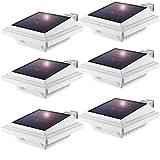 Solar Dachrinnenleuchte,KEENZO Solarlampen für Außen, 25LEDs Solarlicht, Auto ON/OFF, Weiß, Warmes Weiß Licht (6 Stück)
