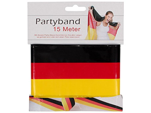 Alsino Partyband Duitsland WK fanartikel 15 meter sperband afsluitband - 8 cm breed - zwart rood goud