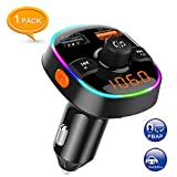Arsvita Bluetooth Car FM Transmitter, Wireless Audio Adapter Receiver, Support Siri/Google Voice Wake-up, Color Light, with QC3.0 Quick Charge Dual USB Ports and Support TF Card.