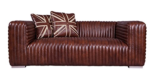 Vintage-Line Designsofa Lamberton 2-Sitzer Montaigne Brown Echtleder Sofa Couch
