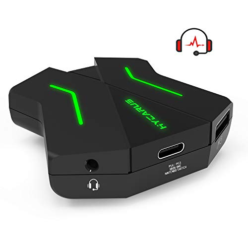 [Support 3.5mm Headset] HYCARUS Keyboard and Mouse Adapter for Nintendo Switch/Xbox One/ PS4/ PS3, PS4 Keyboard Adapter & Xbox Keyboard Adapter. Perfect for Games Like FPS, TPS, RPG and RTS, etc.