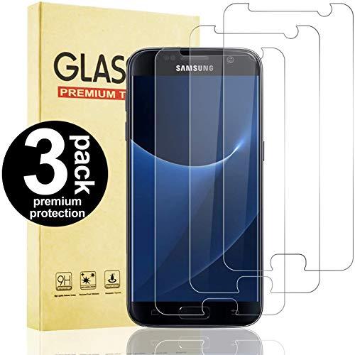 Snnisttek 3 Stück Schutzfolie Panzerglas Samsung Galaxy S7, Einfache Installation, Hohe Transparenz/Definition, Anti-Öl, Blasenfrei Panzerglas Samsung Galaxy S7