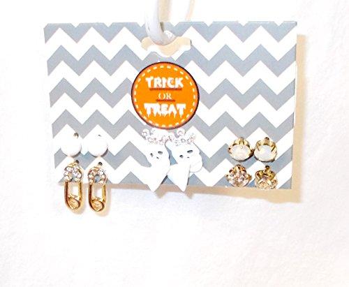 Gordmans Halloween Pierced Earrings Skulls Safety Pins Triangles Rhinestone 6 Pr NWT