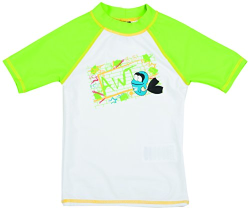 ARENA Kinder Jungen Sonnenschutz Bade T-Shirt Uv, White/Leaf, 92