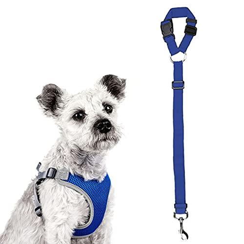 LVGOD Multifunción Ajustable Juego De Cinturón De Seguridad para Perro Tejido De Malla Transpirable Arnés De Chaleco De Viaje con Cinturón De Seguridad