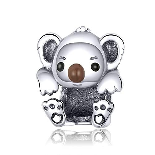 Auténtica Plata De Ley 925 Animal Bebé Koala Colgante con Cuentas Ajuste Original Pulsera Collar Cuentas DIY Fabricación De Joyas