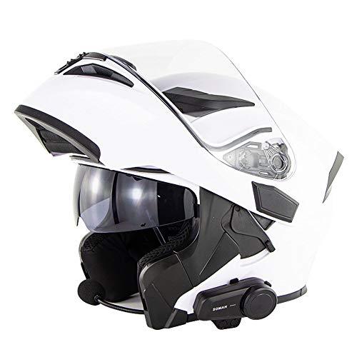Casco de motocicleta Bluetooth de cara completa Cascos de moto modulares abatibles Certificación DOT Micrófono de doble visor Casco de protección para adultos Respuesta automática (White,L(59~60))