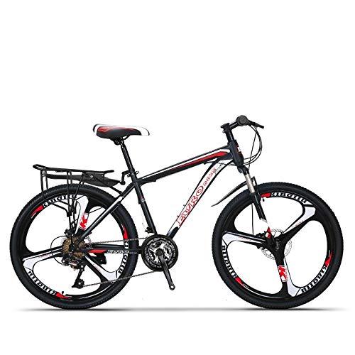 QJWY-Home 24-Gang 26-Zoll Fahrrad Unisex-Scheibenbremse Offroad dreipoliger Einrad Fahrrad -K Knife Wheel-Black and red 24 Speed 26 inches