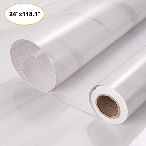 Marble Self Adhesive Paper Granite Gray White Roll Kitchen Countertop Cabinet Furniture Thicken Waterproof PVC Wallpaper(24'' X 118.1'', Gray White)