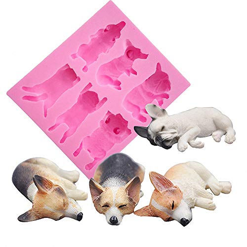 Fewo 6-Cavity Sleeping Dog Corgi and French Bulldog Silicone Mold for Fondant Chocolate Candy Gum Paste Polymer Clay Resin Kitchen Baking Sugar Craft Cake Cupcake Decorating Tools ()