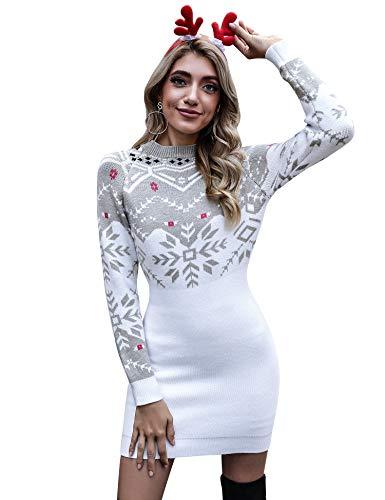 Aibrou Vestido Suéter de Navidad para Mujer, Jersey de Manga Larga Elasticidad elástica,Copo de Nieve, Fiesta de...