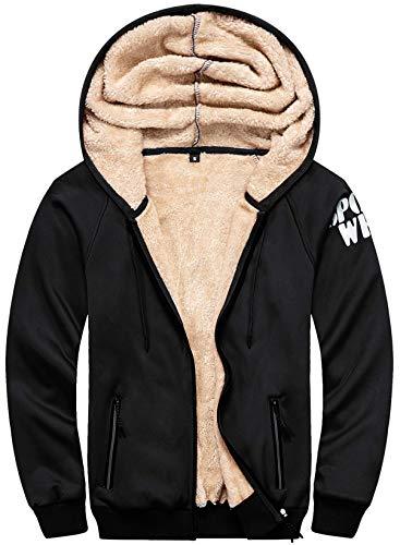 VSUSN Hoodies Herren Kapuzenpullover mit Reißverschluss Langarm Kapuzenjacke Winter Warm Fleece-Innenseite Hoodie Plus Dicke Sweatjacke(Schwarz,2XL)