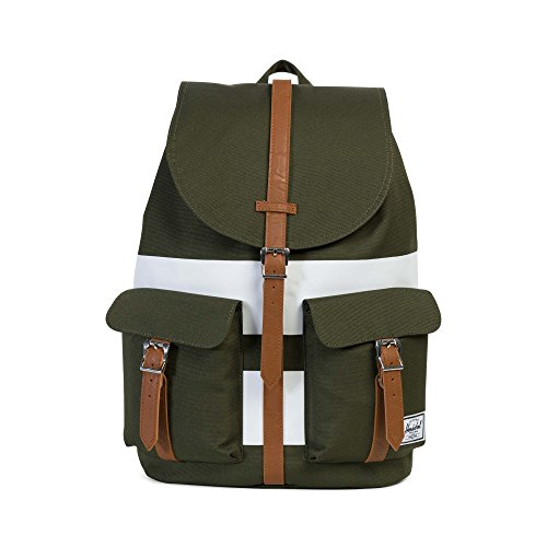Herschel, Unisex Erwachsene Daypack, Forest Night/White Rugby Stripe/Tan Synthetic Leather (Grün) - 10233-01597-OS